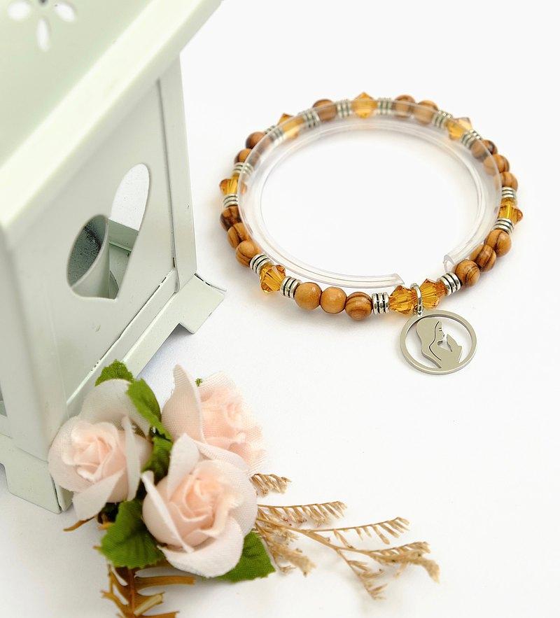 以色列進口橄欖木珠搭配施華洛世奇黃水晶手環 8250030