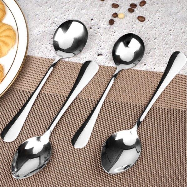 不銹鋼勺子餐具 長柄咖啡勺兒童湯勺【庫奇小舖】