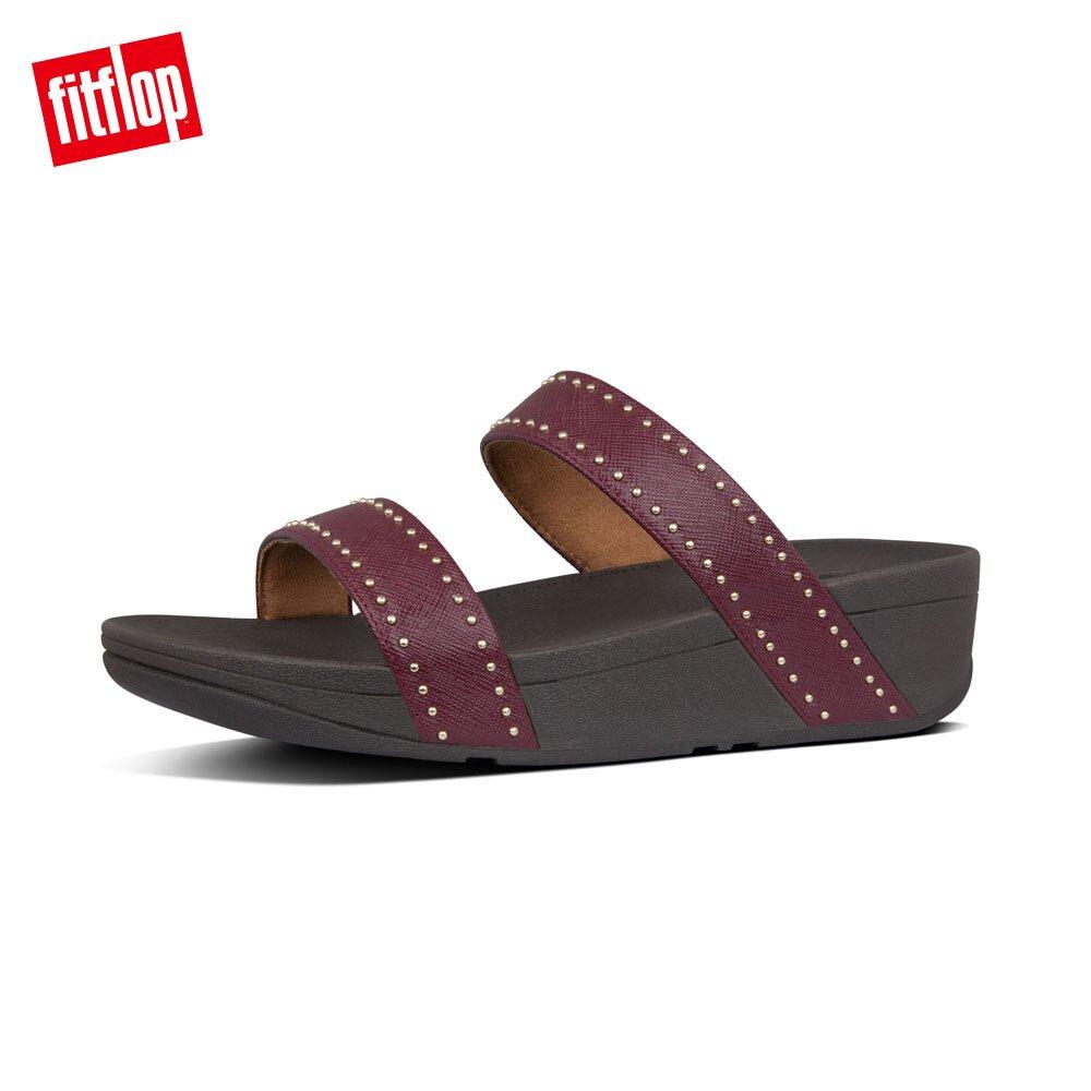 【FitFlop】LOTTIE MICROSTUD SLIDES精緻鉚釘設計雙帶涼鞋-女(深莓色)
