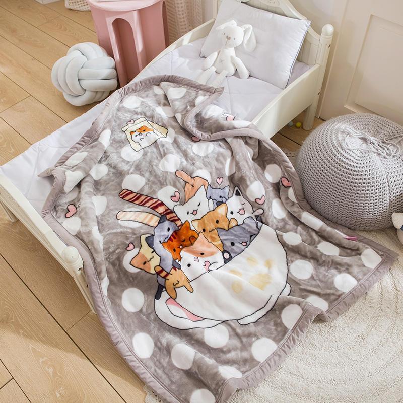 [滿額免運]韓系可愛風 秋冬必備雙層加厚多功能法蘭絨雲毯 兒童毯(貓咪控)[艾拉寢飾]【A02348】