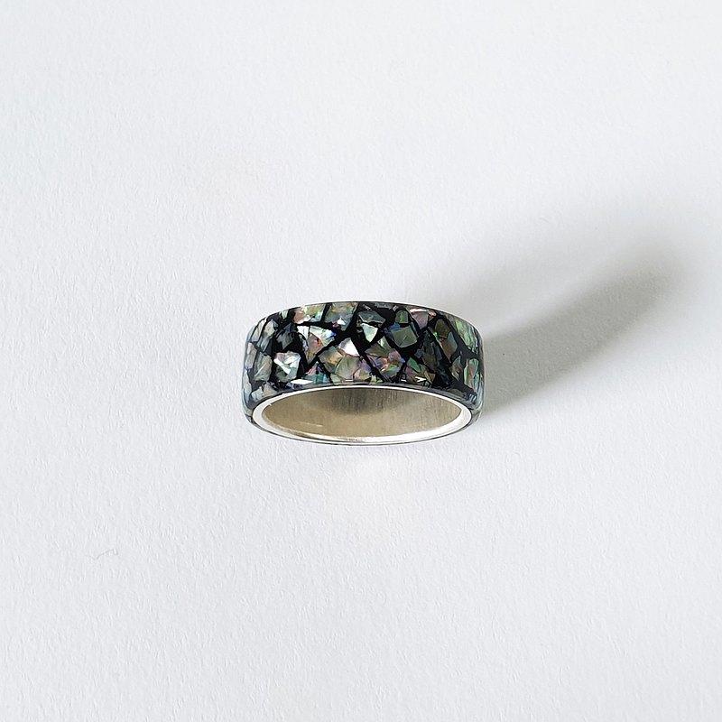 LUXE HAND 白鮑魚殼 銀戒指 (黑)