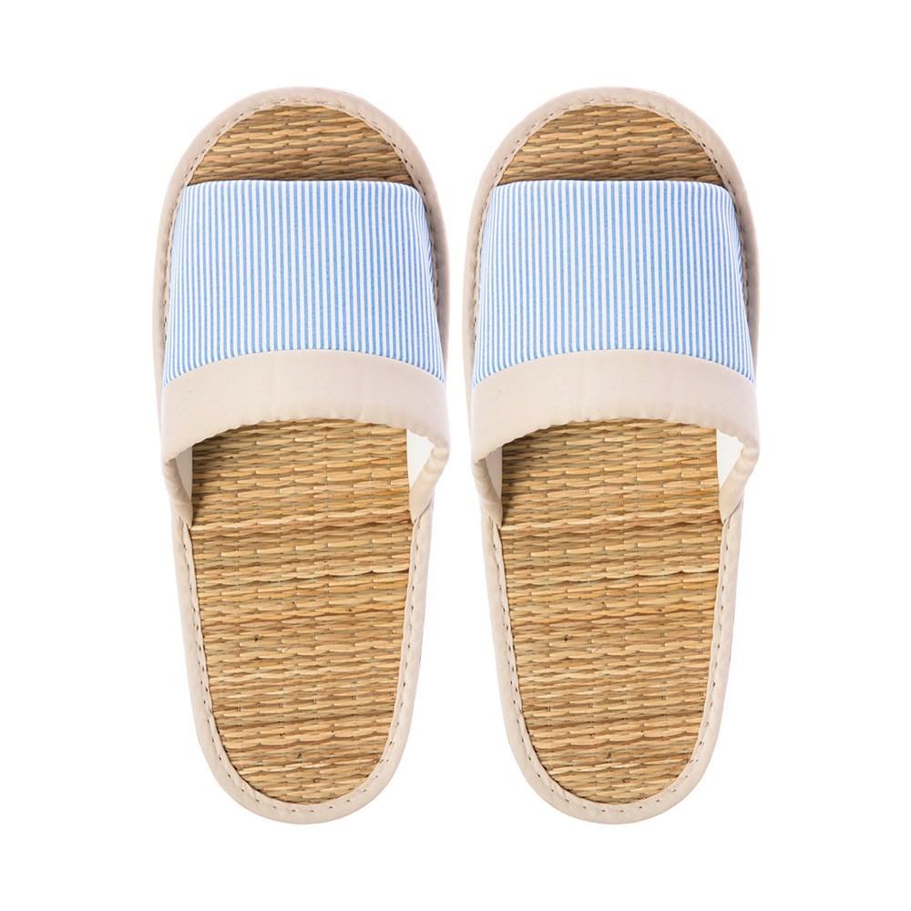 線條室內蓆拖鞋-藍M