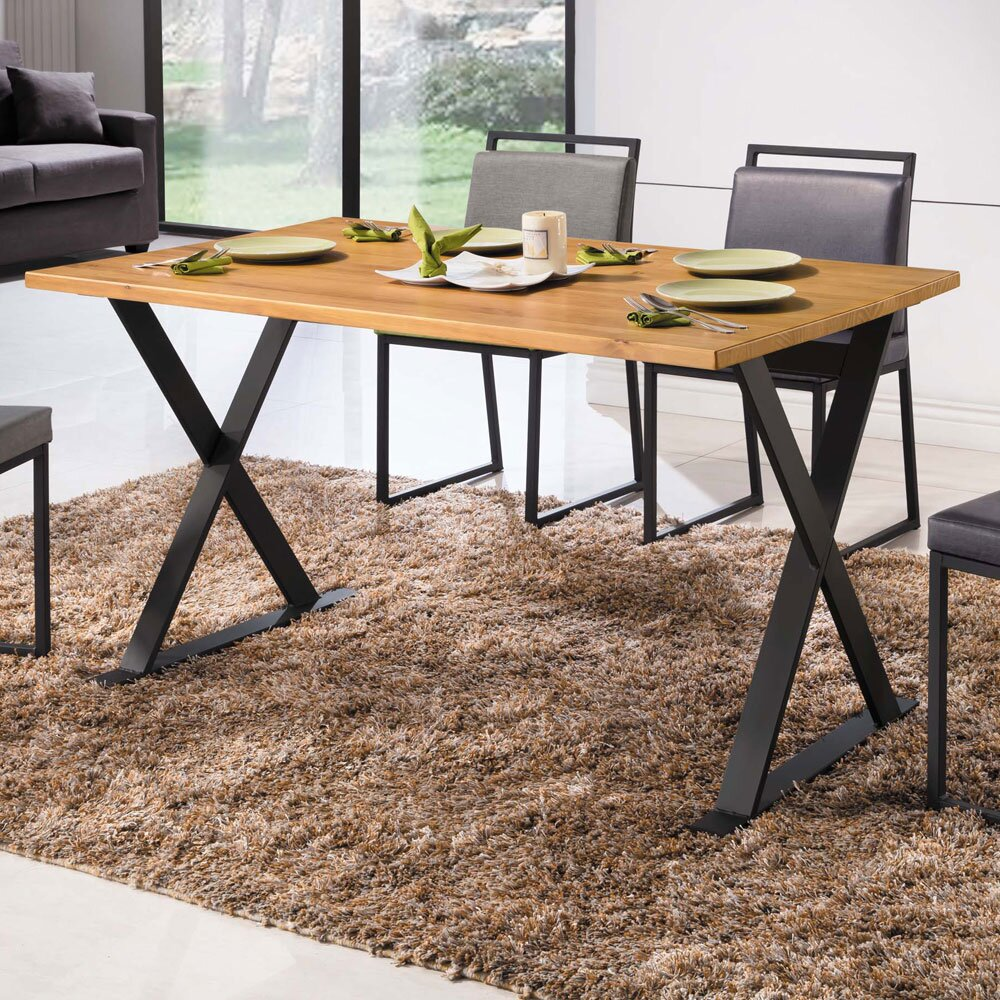 Boden-威利5尺工業風實木X造型餐桌