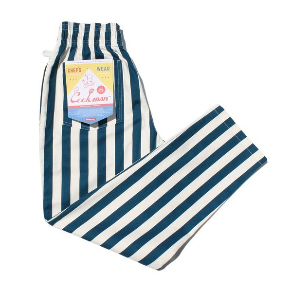 COOKMAN Chef Pants「Wide Stripe」Navy 休閒長褲
