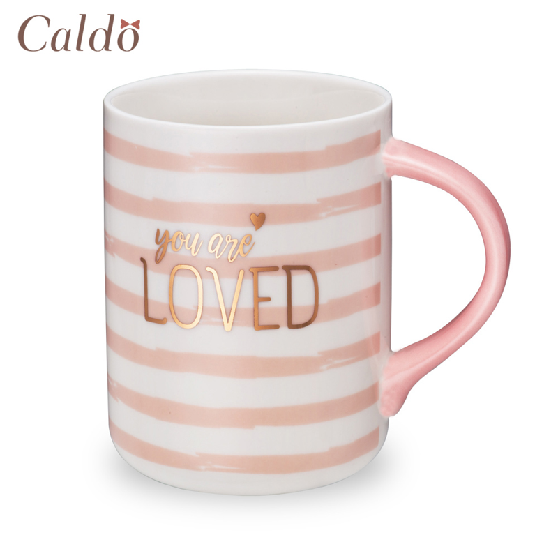 【Caldo卡朵生活】愛是一切粉系情人馬克杯500ml/條紋