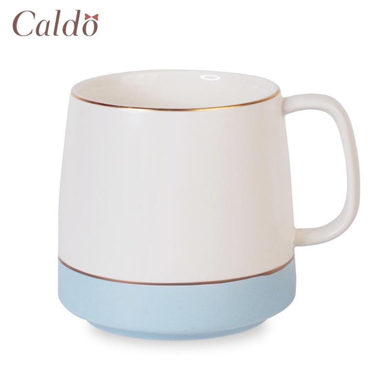 【Caldo卡朵生活】霧面氣質撞色描金馬克杯400ml/藍