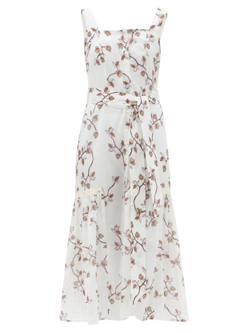 Galanthya - Camille Belted Floral-print Cotton-voile Dress - Womens - White Print