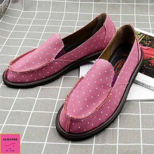 【南紡購物中心】紫精靈點點帆布鞋/ 超輕量鞋/女休閒鞋