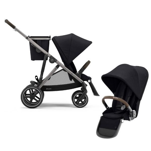 Cybex Gazelle S 雙人推車+第二座椅-黑色/雙胞胎推車/雙寶車【麗兒采家】