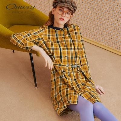 OUWEY歐薇 格紋長版修身連帽洋裝(黃)