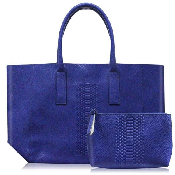 雅詩蘭黛 藍色托特包(肩背/手提)(34x14x29.5cm)+化妝包(18x5x12cm)