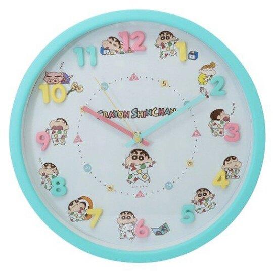 小禮堂 蠟筆小新 連續秒針圓形壁掛鐘 壁鐘 時鐘 (綠粉 立體數字)