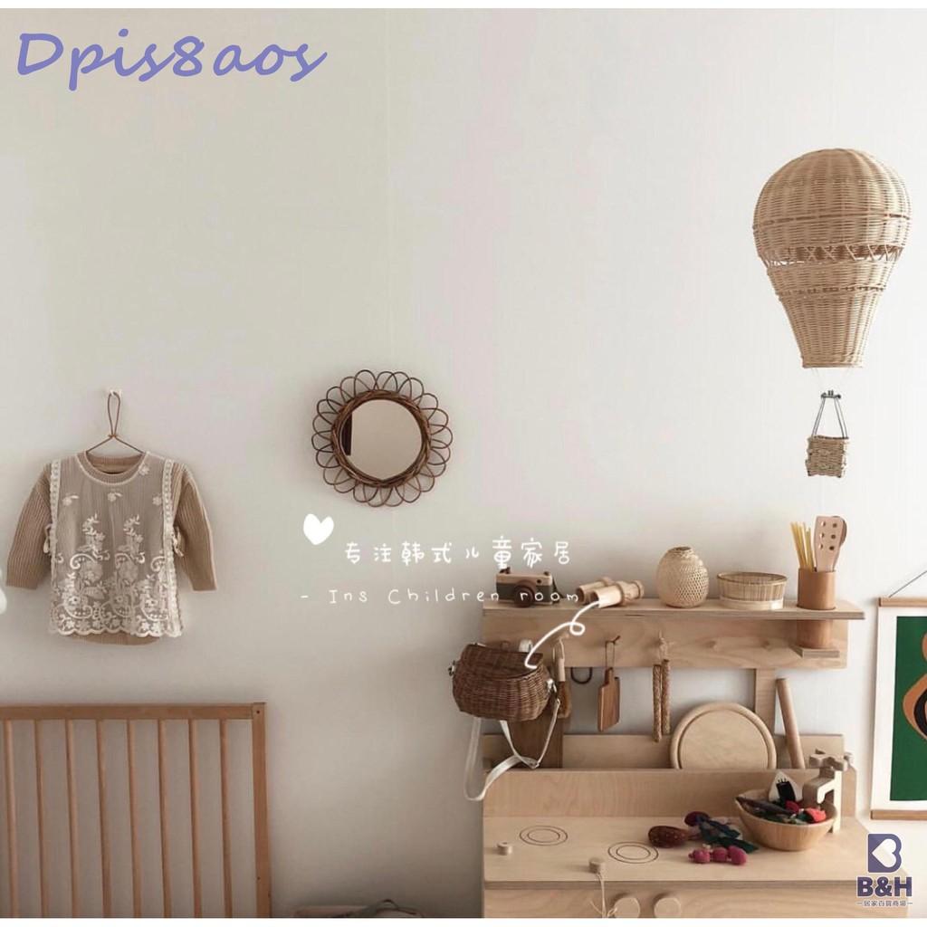INS風出口韓國藤編熱氣球掛飾兒童房裝飾拍攝道具寶寶游戲房擺件 【小Z的店鋪】