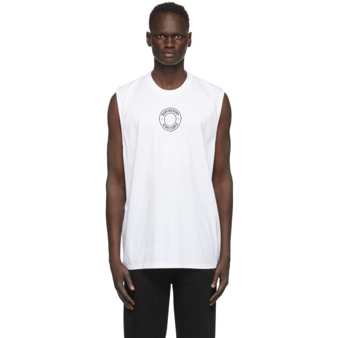 Burberry 白色凸纹印花无袖 T 恤