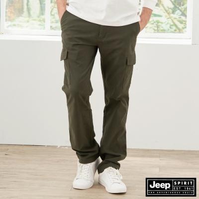 Jeep 男裝 百搭修身工作長褲-橄欖綠