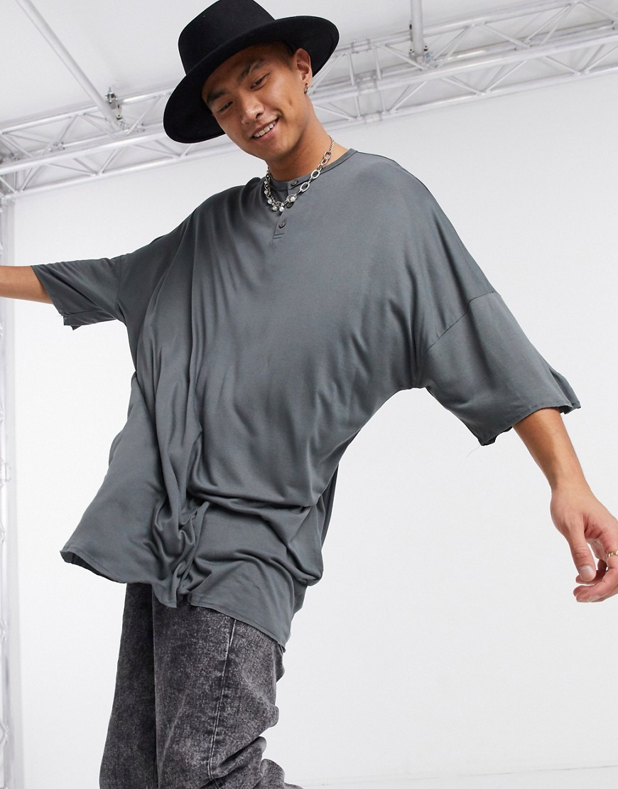 ASOS DESIGN oversized longline t-shirt with grandad neck in viscose in washed black
