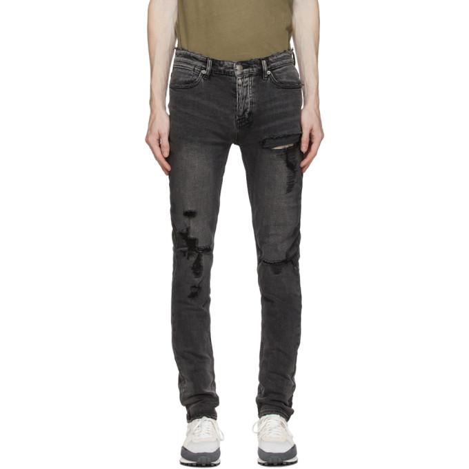 Ksubi SSENSE 独家发售黑色 Van Winkle Angst Trashed 牛仔裤