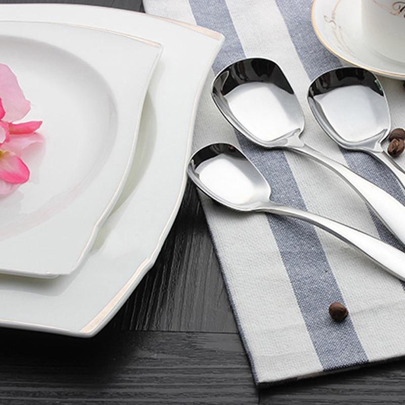 不銹鋼方形創意餐勺餐具平頭平湯匙