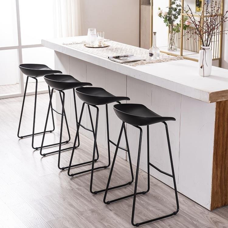 【快速出貨】吧台椅鐵藝吧凳家用簡約高腳凳北歐休閒創意吧椅咖啡廳椅子 七色堇 新年春節送禮