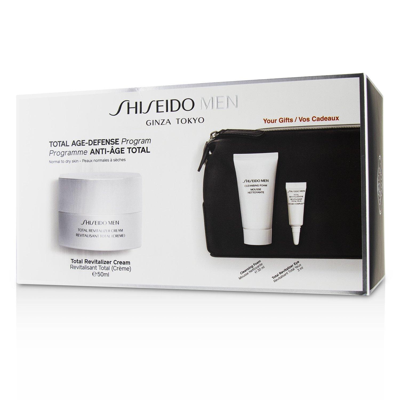 資生堂 Shiseido - 男士全效活膚套裝: 1x全效活膚霜 50ml+1x洗面膏 30ml+1x全效活膚眼霜 3ml+1x袋