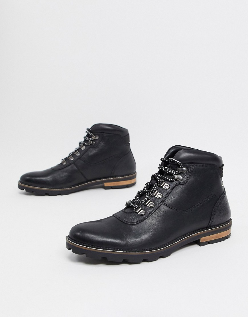 Ben Sherman hiker lace up ankle boots in black leather