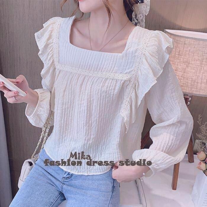 依米迦 襯衫 秋季新款超仙設計感荷葉邊方領寬鬆燈籠長袖襯衫上衣裝