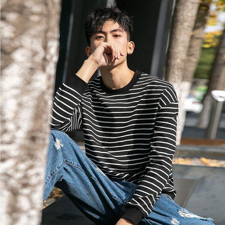 【型男精選任搭2件$699】潮流時尚日系簡約街頭條紋造型百搭長袖T恤