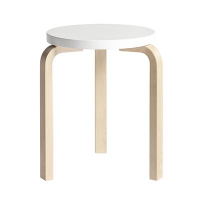 Stool 60 三腳圓凳(原木腳 x 純白椅面)