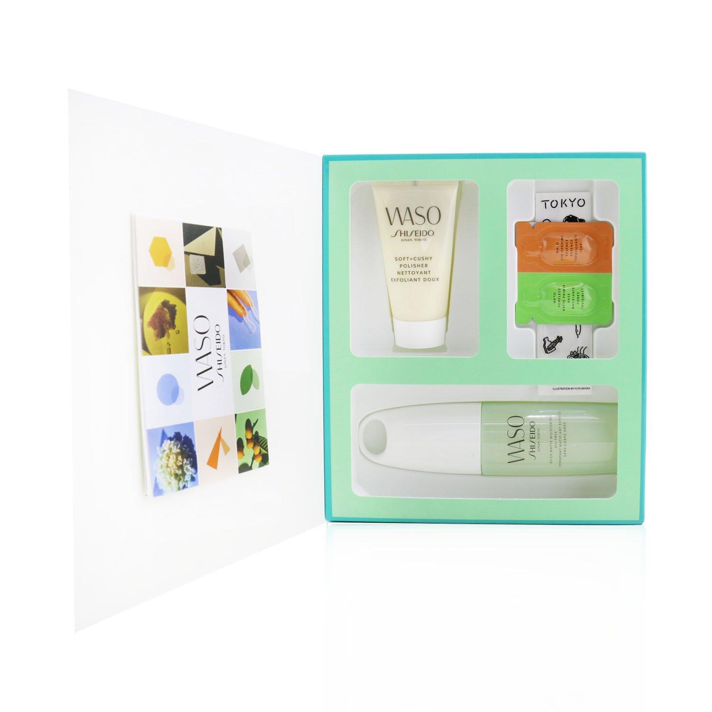 資生堂 Shiseido - Waso Quick啞光水潤無油套裝:Quick 啞光水潤霜 75毫升+柔軟+柔滑磨砂膏30ml +眼部精華0.3ml +無毛孔啞光底霜0.3ml