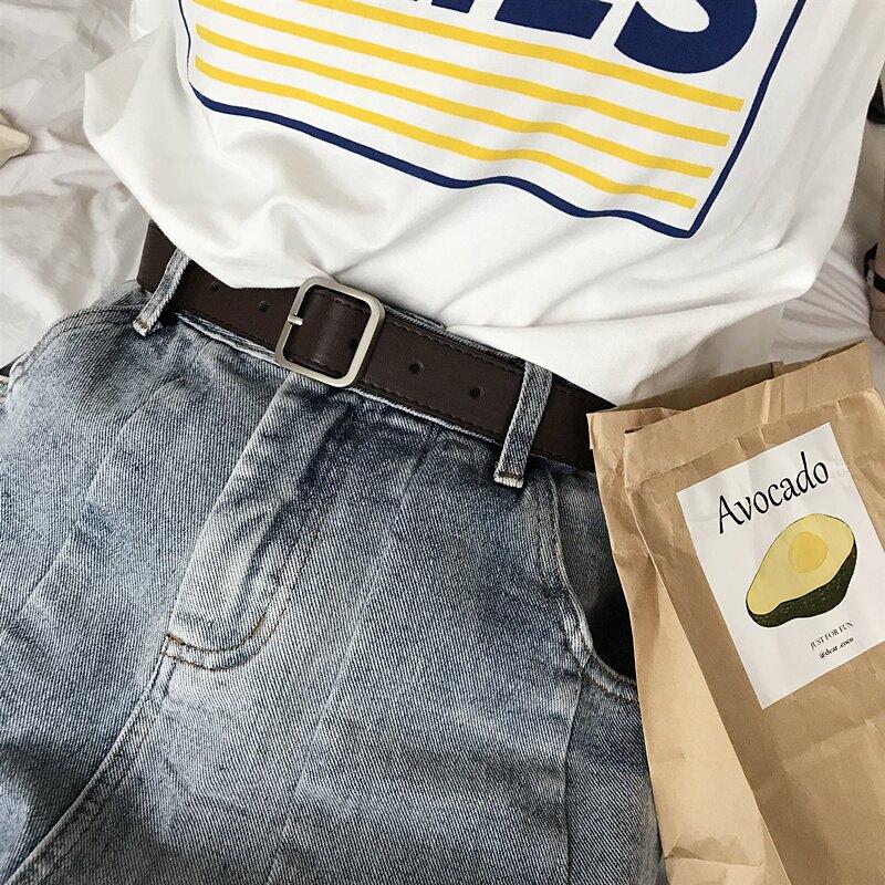 韓國2020年新款皮帶正方形啞光銀色實心扣頭黑腰帶chic風寬女士潮