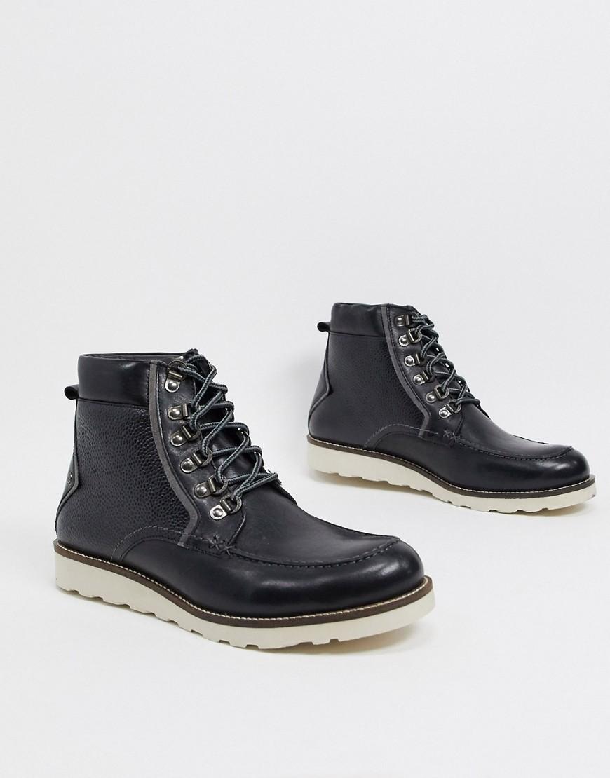 Original Penguin premium hiker boots in black leather