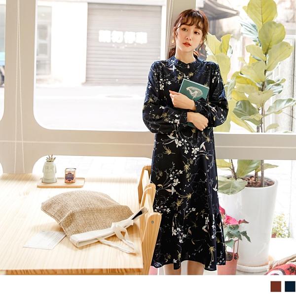 《DA7411-》滿版花朵半開襟小立領傘襬洋裝 OB嚴選