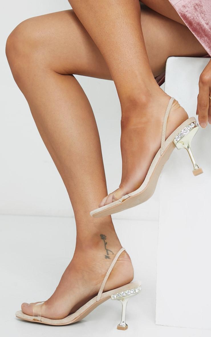 Nude High Metal Jewel Cake Stand Slingback Sandals