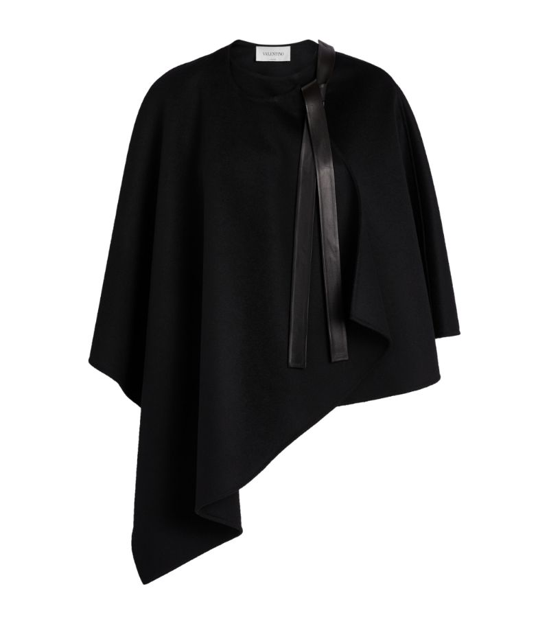 Valentino Leather-Trim Cape