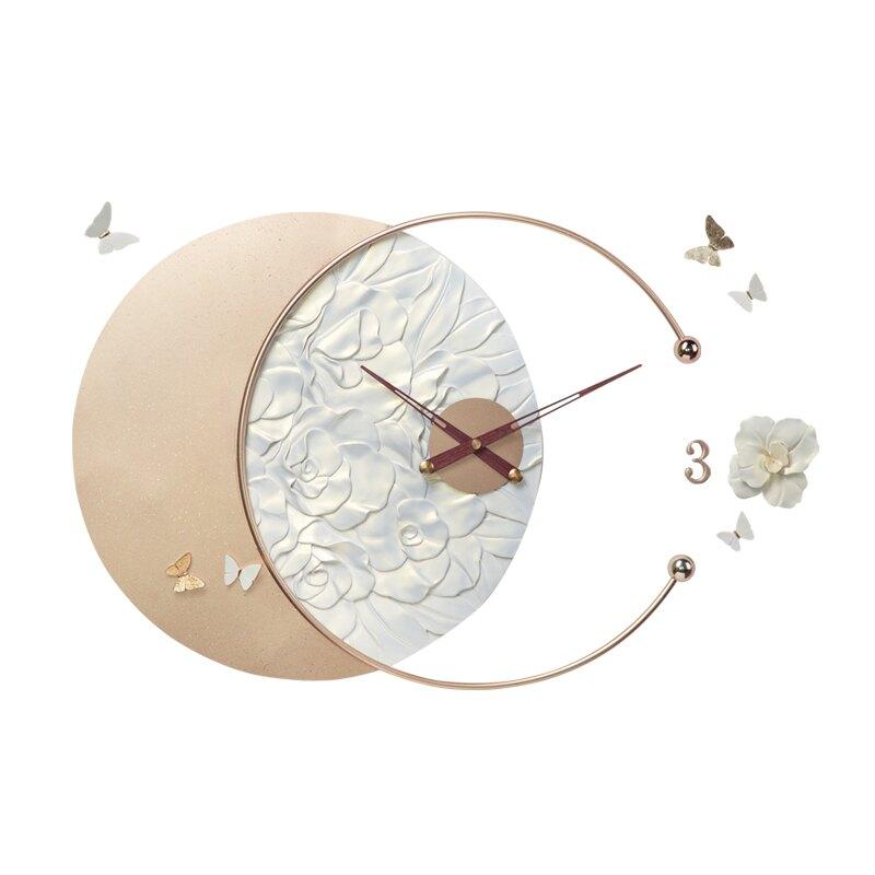 藝術鐘表掛鐘客廳家用鐘飾大氣輕奢時尚簡約時鐘浮雕掛墻創意個性