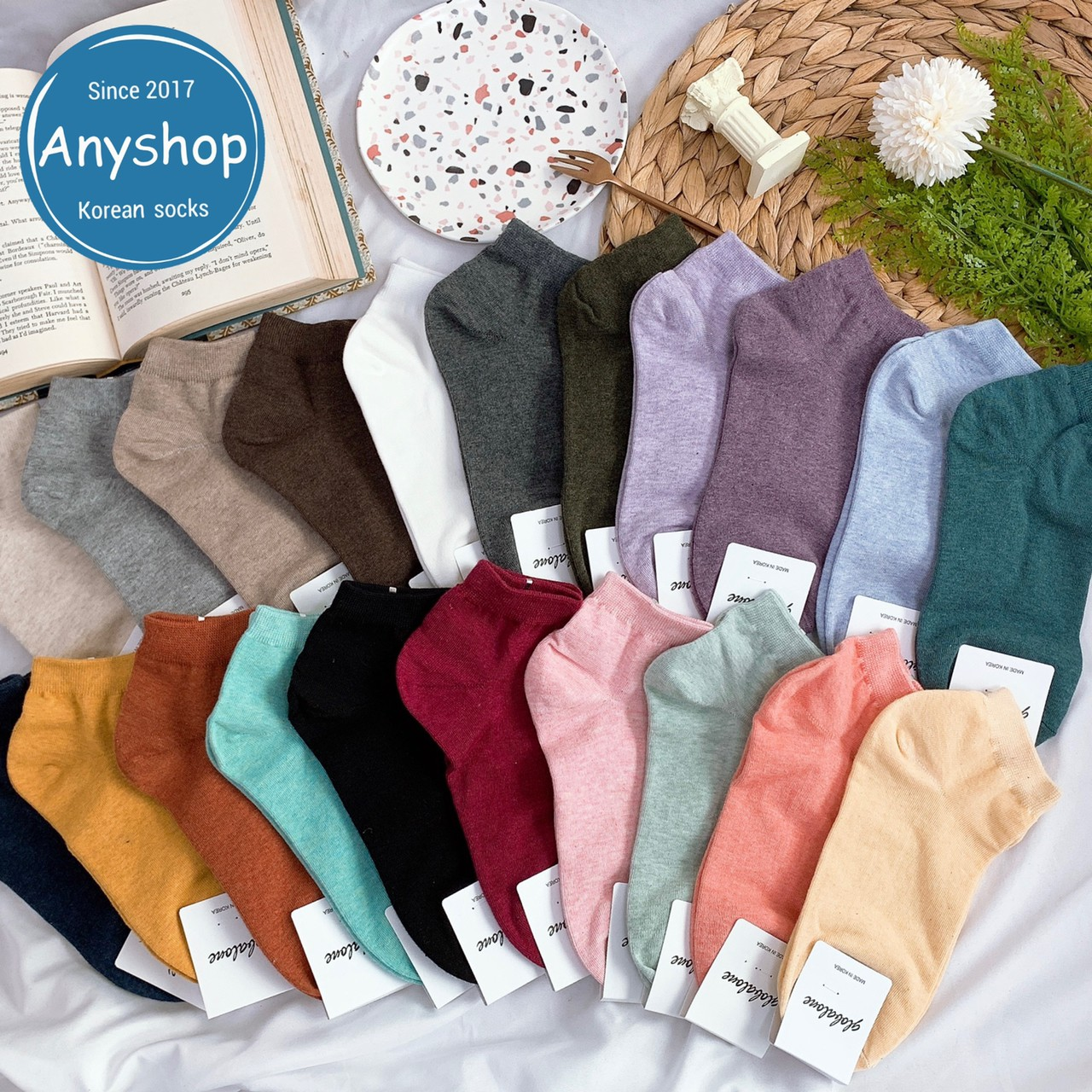 韓國襪-[Anyshop]g牌經典素色無痕短襪