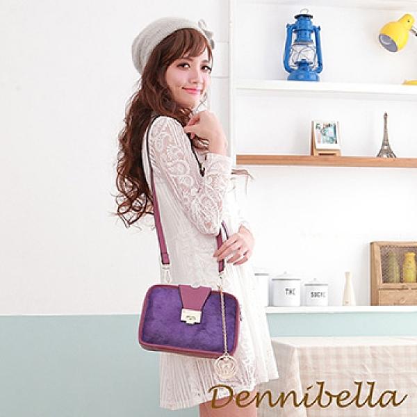 【南紡購物中心】【Dennibella 丹妮貝拉】真皮斜背馬毛包-紫