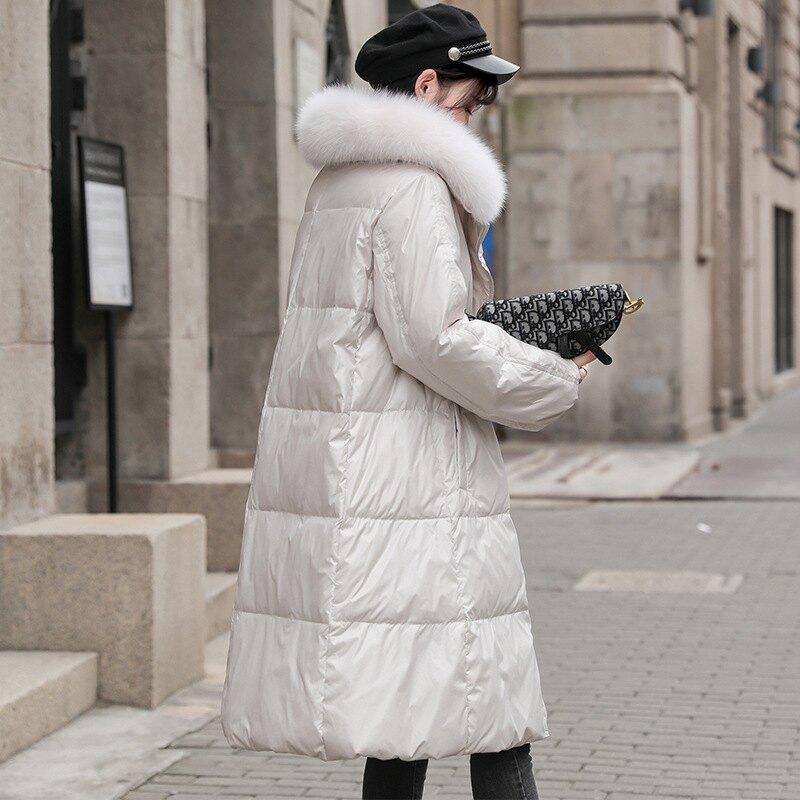 羽絨外套白鴨絨夾克-長款亮面狐狸毛領女外套3色73zb22【獨家進口】【米蘭精品】