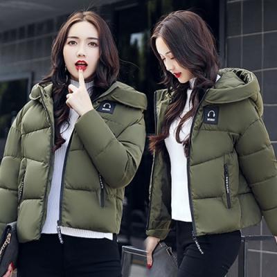 【韓國K.W.】(現貨) 個性連帽簡約素面羽絨棉外套