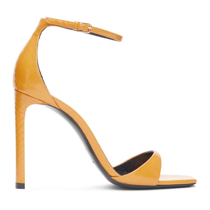 Saint Laurent 黄色 Bea 蛇皮凉鞋