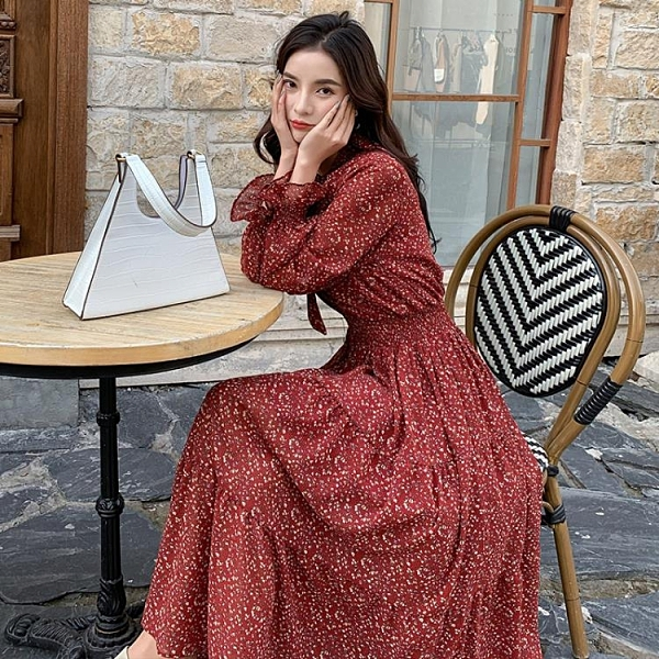 春秋新款長袖洋裝裙顯白韓版寬鬆顯瘦中長款打攬雪紡碎花連身裙女2020-完美