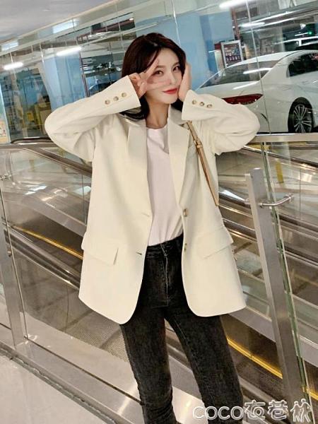 西裝外套 網紅小西裝2021新款外套女春秋白色韓版炸街設計感套裝小個子西服 coco