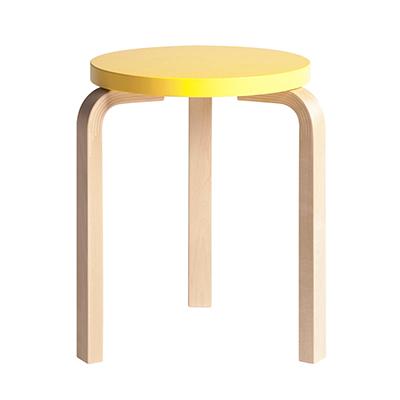 Stool 60 三腳圓凳(原木腳 x 鮮黃椅面)