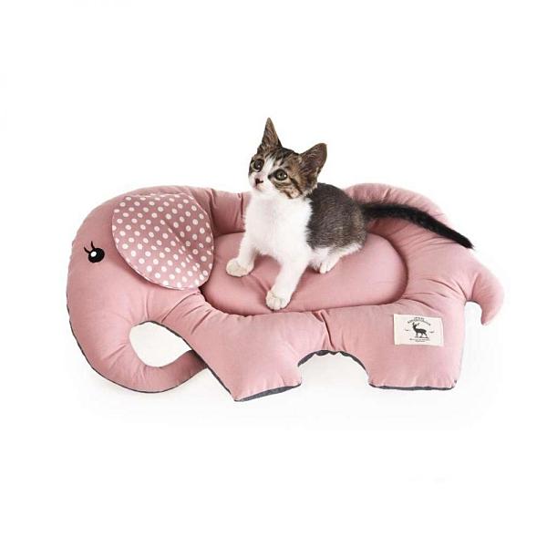 寵物家族-沛啾 -大象防滑貓睡墊-粉