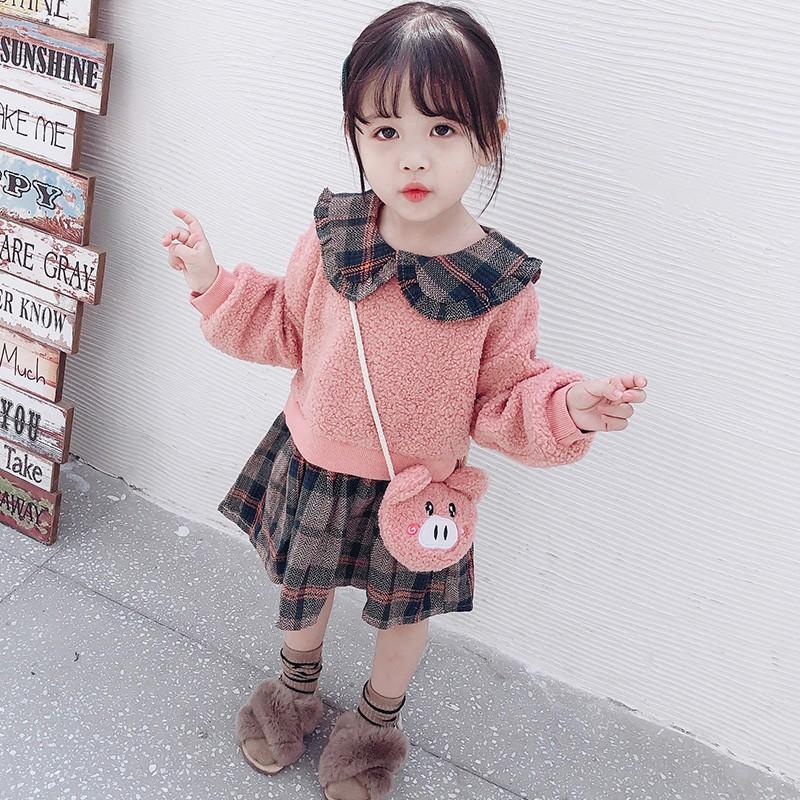 小女童新款韓版衛衣長袖連衣裙&女寶寶0-3歲秋裝長袖加绒裙子&送包包&現貨 &可批發