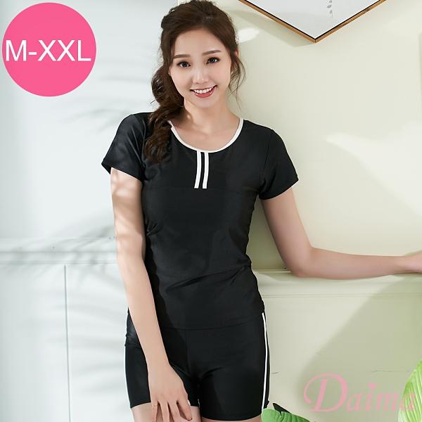 黛瑪Daima 加大尺碼 (M-2L)經典保守型三件式修身修飾遮肚T恤型泳裝_黑色(附泳帽)B191088