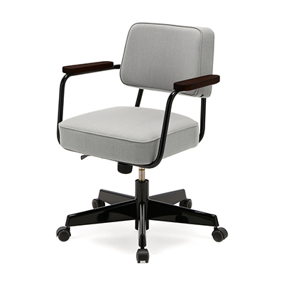 Fauteuil Direction Pivotant 工作椅(淺灰座面、深黑椅腳)