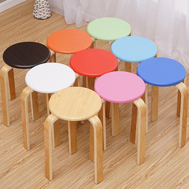 實木凳子家用北歐創意餐桌小圓凳經濟型簡約現代客廳臥室換鞋矮凳@小怡小家
