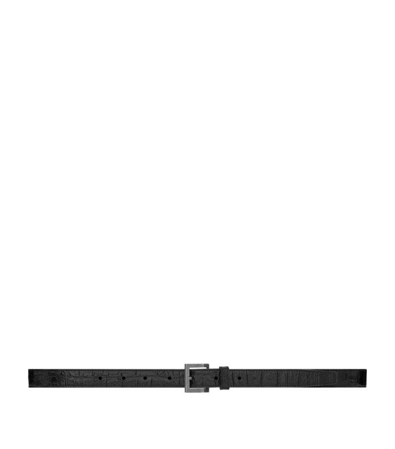 Saint Laurent Croc-Embossed Leather Belt