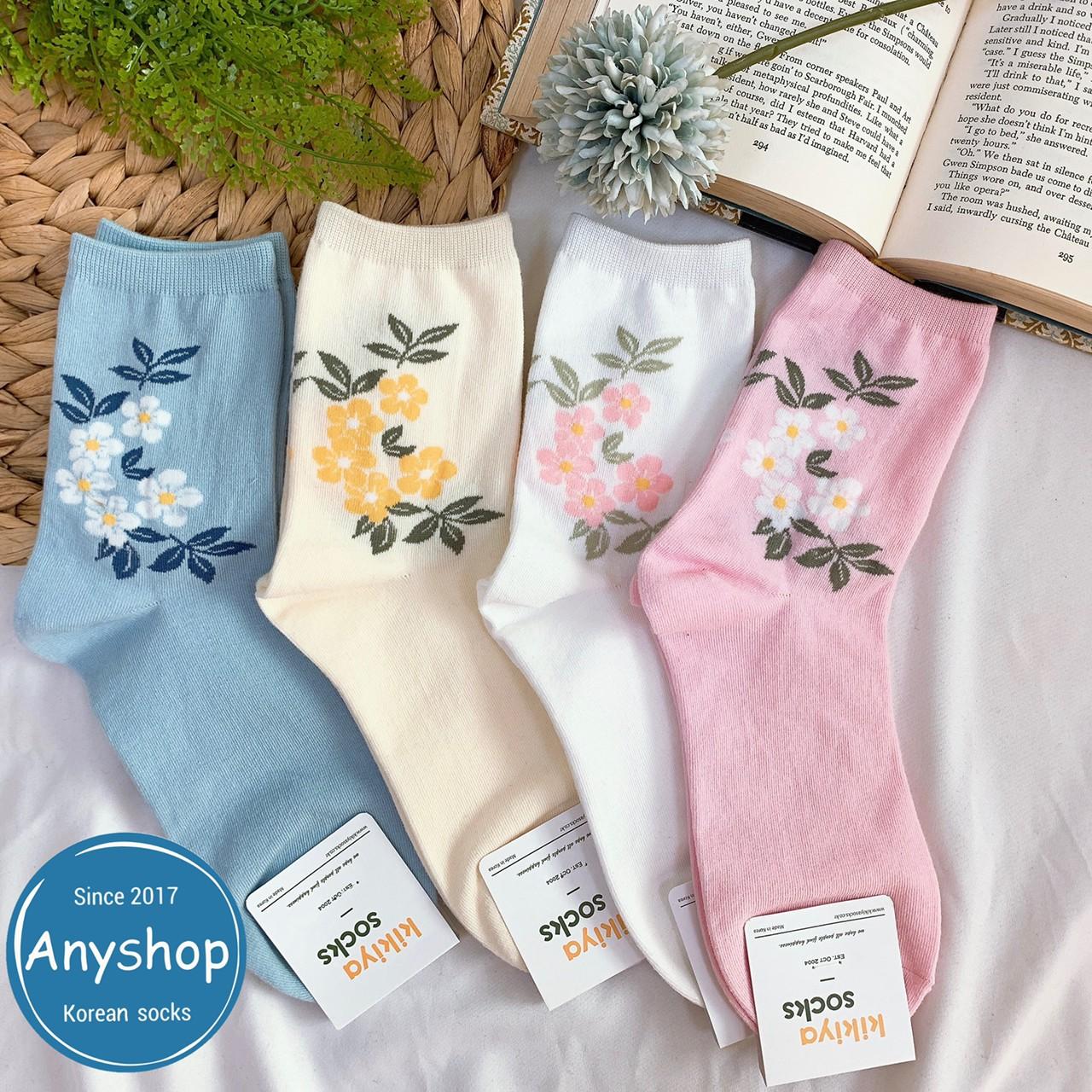 韓國襪-[Anyshop]溫柔色系花朵長襪